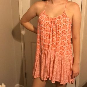 Orange Floral Topshop High Low Dress